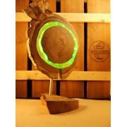 Lamp van acacia met ingegoten jaaringen groen | Woodlightz