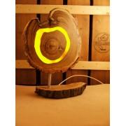 Lamp van acacia met ingegoten jaaringen geel | Woodlightz