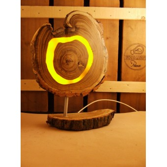 Lamp van acacia met ingegoten jaaringen geel   Woodlightz