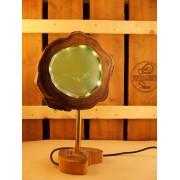 Lamp van acacia met ingegoten ledverlichting aqua | Woodlightz