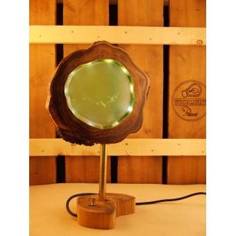Lamp van acacia met ingegoten ledverlichting aqua   Woodlightz