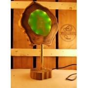 Lamp van acacia met groen ingegoten ledverlichting  | Woodlightz