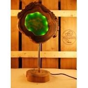 Lamp van acacia met ingegoten ledverlichting Groen | Woodlightz