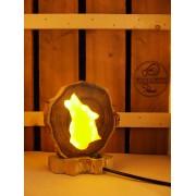 Natuurlijke houten lamp Woodlightz lamp Wildlife Wolf