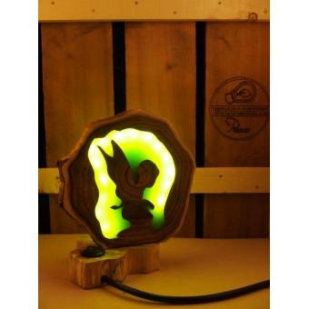 Natuurlijke houten lamp Woodlightz lamp fantasy elf groen