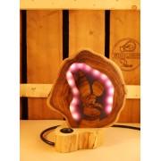 Natuurlijke houten lamp Woodlightz lamp fantasy elf lila paars