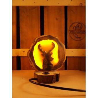 Natuurlijke houten lamp Woodlightz lamp geel amber hert