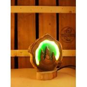 Natuurlijke houten lamp Woodlightz lamp groen pool licht