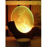 Sprookjesachtige lamp uit kersenhout, glas, drijfhout, boomstam, afbeelding hert | Woodlightz