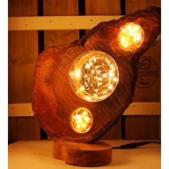 Rustieke lamp uit kersenhout, drijfhout, boomstam | Woodlightz