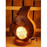 "Robuuste lamp uit kersenhout, boomstam, ""Flame""| Woodlightz"