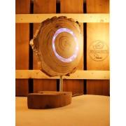Lamp van acacia met ingegoten jaaringen blauw | Woodlightz